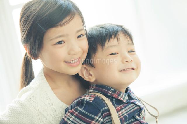 弟を抱きしめるお姉ちゃんの写真素材 [FYI01440198]