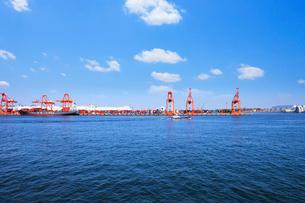 海上から見る青海のコンテナ埠頭の写真素材 [FYI01441699]