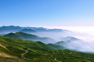 乗鞍岳剣ケ峰山頂からの雲海と乗鞍エコーラインの写真素材 [FYI01441852]