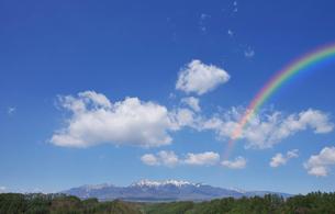 唐松林と残雪の八ヶ岳の写真素材 [FYI01441915]