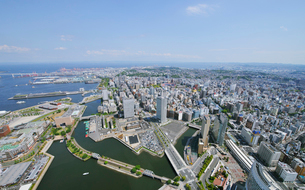 横浜スタジアム方向を望むの写真素材 [FYI01442056]
