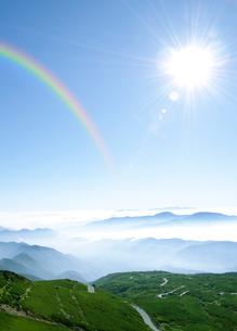 乗鞍岳剣ケ峰山頂からの太陽と雲海の写真素材 [FYI01442081]