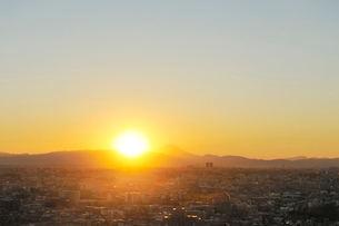 富士山と夕日の写真素材 [FYI01442295]