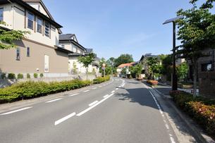 道路と住宅街の家並みの写真素材 [FYI01442493]