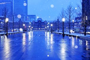 雪の降る明け方の東京駅と行幸通りの写真素材 [FYI01442499]