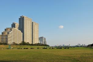 多摩川河川敷と高層マンション群の写真素材 [FYI01442644]
