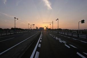 日の出の太陽と多摩川丸子橋の車道の写真素材 [FYI01442695]