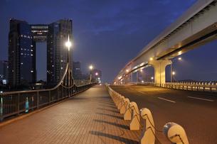 夜明け前のあけみ橋と東京ベイコート倶楽部の写真素材 [FYI01442742]