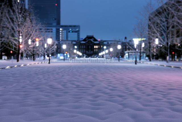 大雪の深夜の東京駅と行幸通りの写真素材 [FYI01442770]