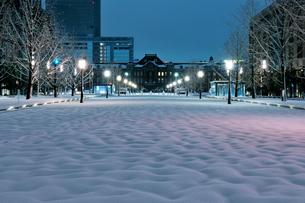 大雪の明け方の東京駅と行幸通りの写真素材 [FYI01442787]