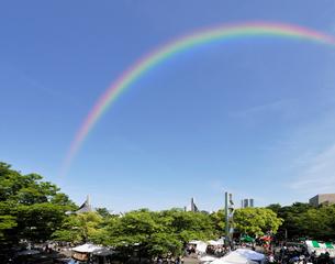 虹と新緑のイベント広場の写真素材 [FYI01442796]