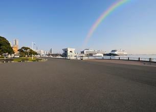 山下公園と大桟橋の豪華客船の写真素材 [FYI01442847]
