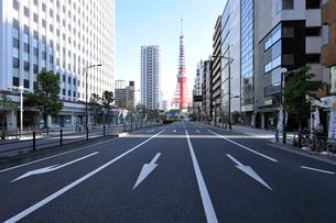 東京タワーと桜田通りの写真素材 [FYI01442860]