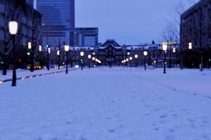 大雪の明け方の東京駅と行幸通りの写真素材 [FYI01442890]