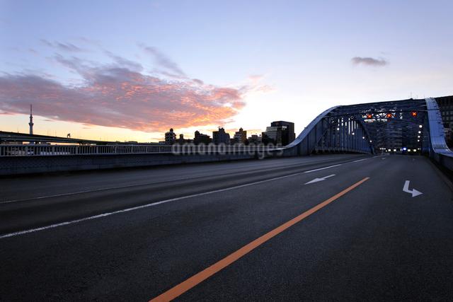 朝焼けの永代橋と東京スカイツリーの写真素材 [FYI01442963]