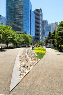 ミッドタウンガーデンの道と都心の高層ビル群の写真素材 [FYI01443460]
