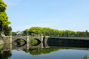 皇居二重橋濠と伏見櫓の写真素材 [FYI01443486]