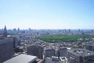 新緑の森と東京のビル群の写真素材 [FYI01443488]