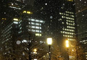 大雪の丸の内夜景の写真素材 [FYI01443931]