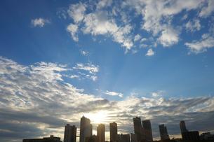 武蔵小杉の高層ビル群と夕日の写真素材 [FYI01444109]