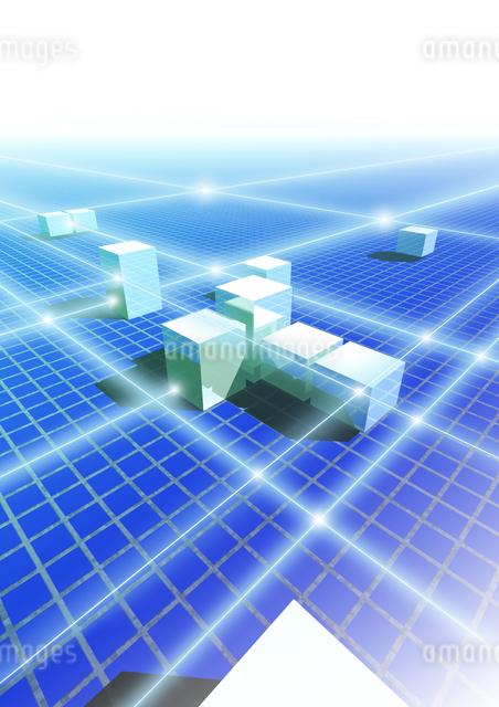 建物と光のラインイメージのイラスト素材 [FYI01444442]