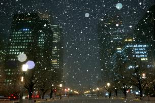 大雪の丸の内夜景の写真素材 [FYI01444450]