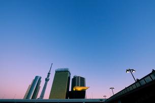 夕暮れの吾妻橋と東京スカイツリーの写真素材 [FYI01444520]