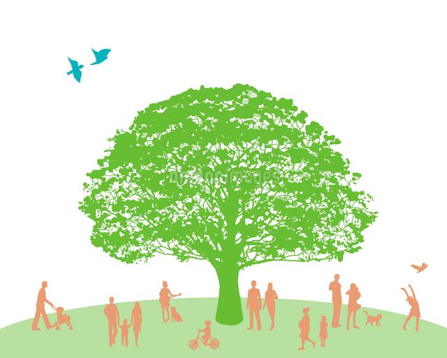 大きな木とシルエットのイラスト素材 [FYI01444600]