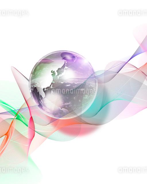 地球とカラフルなラインの写真素材 [FYI01445151]
