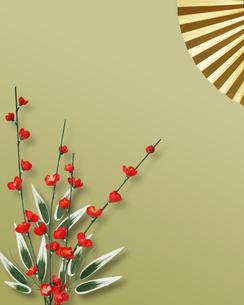 梅と扇子の写真素材 [FYI01445554]