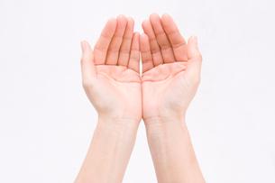 差し出した女性の手の写真素材 [FYI01445711]