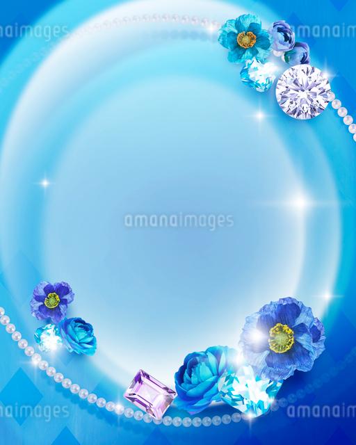 青い花と宝石のイラスト素材 [FYI01445898]