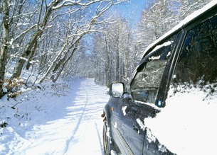 雪の林道と4WDの写真素材 [FYI01449416]