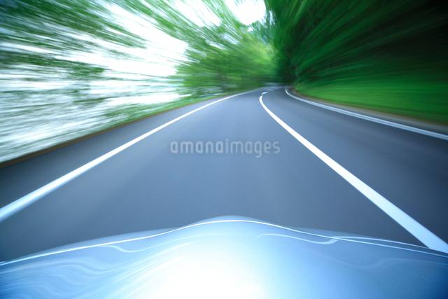 新緑の道を走るハイブリッドカーのボンネットの写真素材 [FYI01451212]