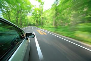 新緑の道を走るハイブリッドカーの写真素材 [FYI01451221]