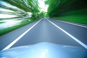 新緑の道を走るハイブリッドカーのボンネットの写真素材 [FYI01451434]