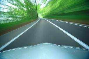 新緑の道を走るハイブリッドカーのボンネットの写真素材 [FYI01451503]