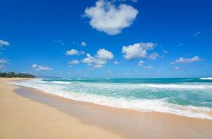 ノースショアの砂浜と波と海と雲の写真素材 [FYI01452087]