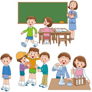 小学校の理科実験の授業といじめと学級崩壊イメージのイラスト素材 [FYI01455425]