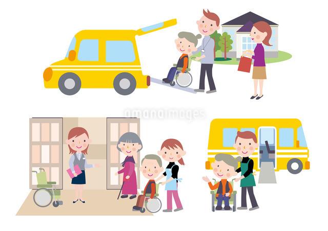 デイケアの送迎で車いすの高齢者を車に乗せる介護士のイラスト素材 [FYI01455428]