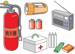 防災 消火器やラジオや懐中電灯などの非常用品のイラスト素材 [FYI01455504]