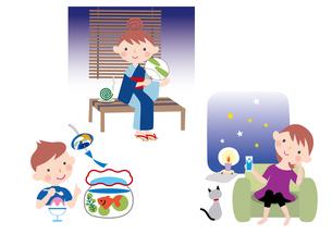 節電の工夫で夏を乗り切る女性と子供のイラスト素材 [FYI01455547]