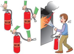 防災 火事の際の消火器の使用方法のイラスト素材 [FYI01455571]