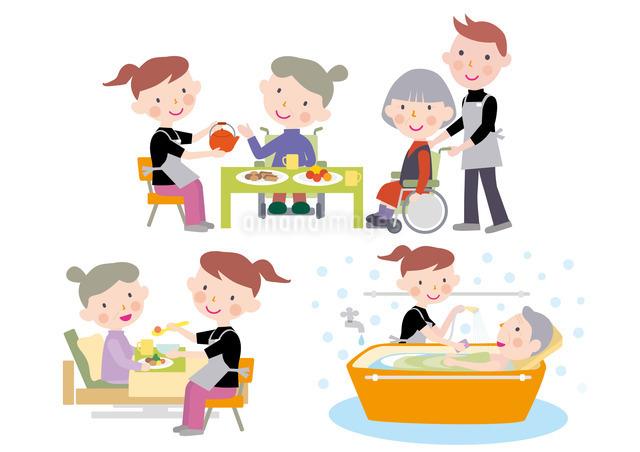 デイケアで介護士から食事と入浴の介助を受ける高齢者のイラスト素材 [FYI01455612]