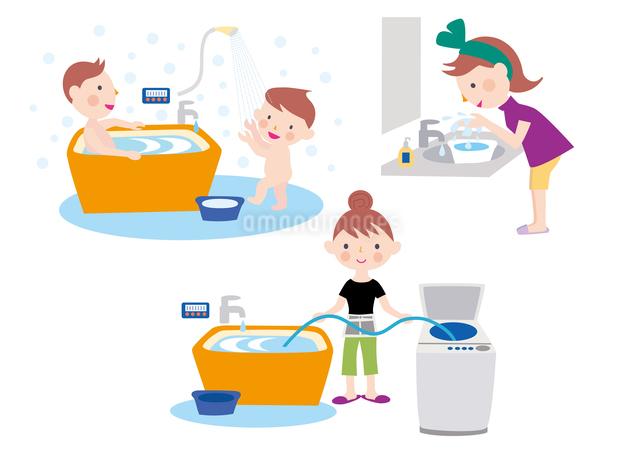 風呂の残り湯の利用で省エネする家族のイラスト素材 [FYI01455637]