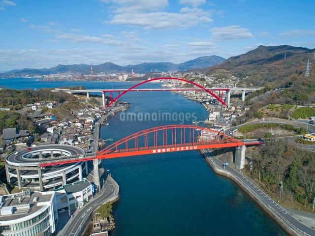 ドローンによる音戸大橋と第二音戸大橋の写真素材 [FYI01455783]
