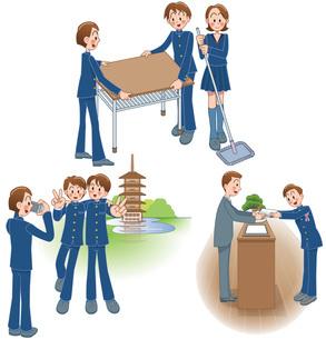 中高生の掃除と修学旅行と卒業式のイラスト素材 [FYI01455933]