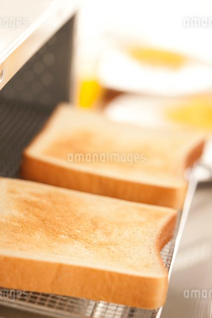 トースターで焼かれたトーストの写真素材 [FYI01456297]