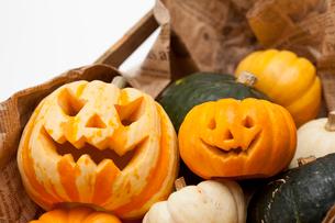木箱に入ったハロウィンかぼちゃ達の写真素材 [FYI01456362]