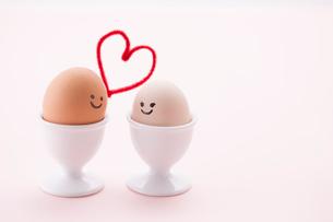カップルを想定した2つの卵の写真素材 [FYI01456620]